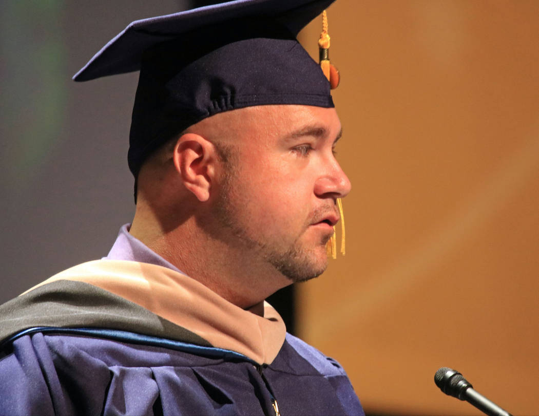 Graduate speaker Logan McDaniel addresses his fellow graduates of Western Governors University Nevada at the Smiths Center for the Performing Arts, Saturday, May 20, 2017. Gabriella Benavidez Las  ...