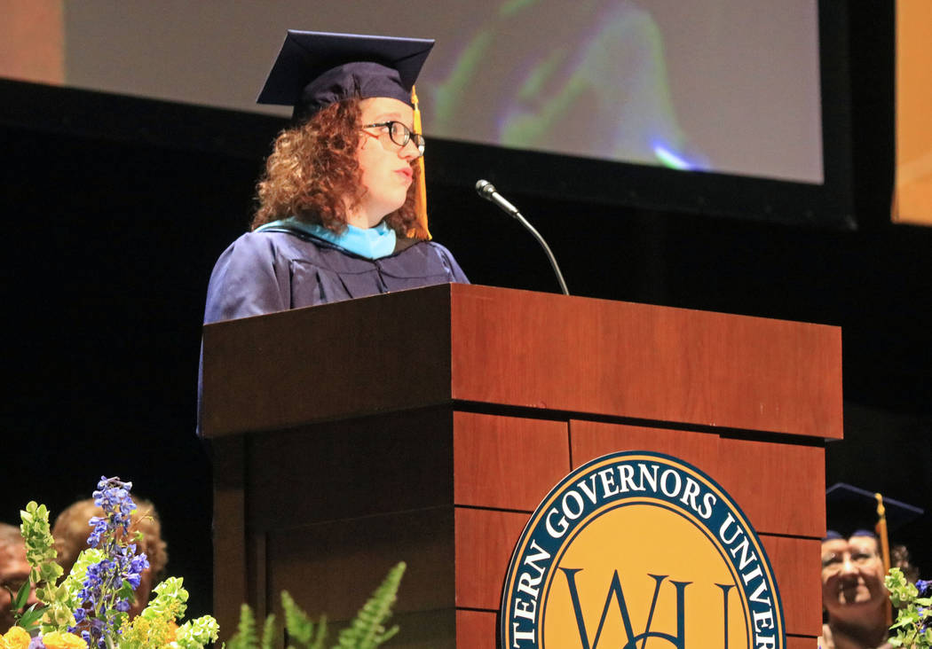 Graduate speaker Samantha Brady addresses her fellow graduates of Western Governors University Nevada at the Smiths Center for the Performing Arts, Saturday, May 20, 2017. Gabriella Benavidez Las  ...