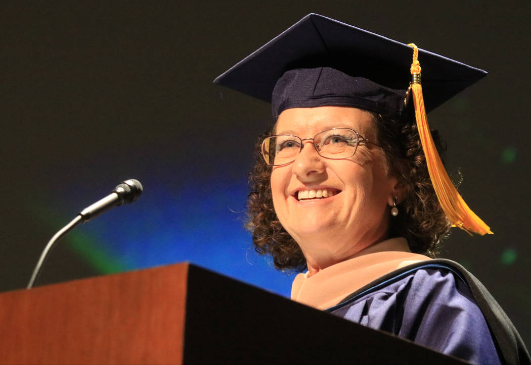 Graduate speaker Cae Swanger addresses her fellow graduates of Western Governors University Nevada at the Smiths Center for the Performing Arts, Saturday, May 20, 2017. Gabriella Benavidez Las Veg ...