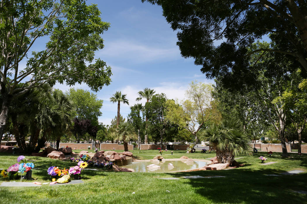 The plots for sale by Chris Snell near tress and water at Palm Eastern Mortuary in Las Vegas Monday, May, 22, 2017. Elizabeth Brumley Las Vegas Review-Journal @EliPagePhoto