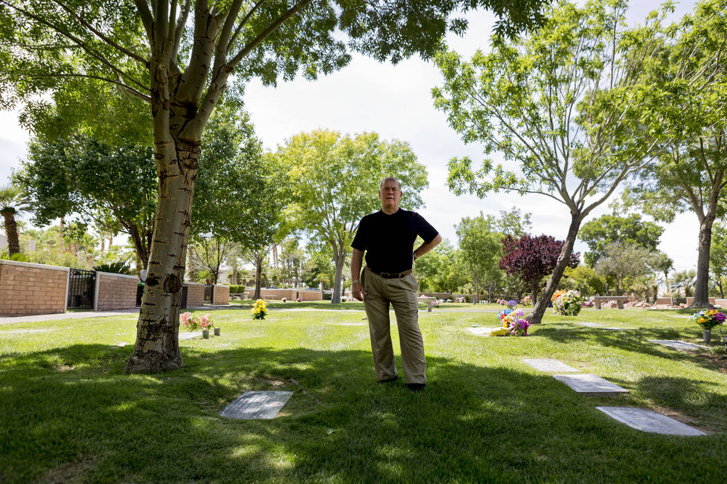 Chris Snell stands on his plots that he is selling at Palm Eastern Mortuary in Las Vegas Monday, May, 22, 2017. Elizabeth Brumley Las Vegas Review-Journal @EliPagePhoto