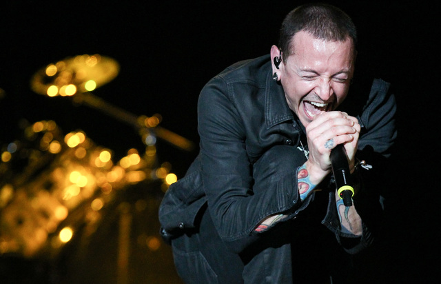 Chester Bennington of Linkin Park performs at the main stage during The Rock in Rio USA music festival Saturday, May 9, 2015, in Las Vegas. (Chase Stevens/Las Vegas Review-Journal)