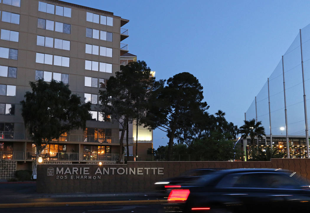 The Marie Antoinette Condominiums are located across the street from Topgolf at MGM Grand hotel-casino, background right, in Las Vegas, Tuesday, April 11, 2017. David Guzman Las Vegas Review-Journ ...
