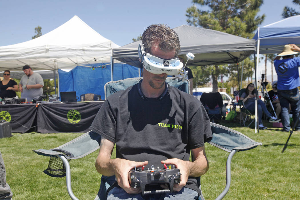 Chris Fehn practices the drone course in the King of Las Vegas drone tournament hosted by the Las Vegas Drone Club on Sunday, May 21, 2017, at Red Ridge Park in Las Vegas. Rachel Aston Las Vegas R ...