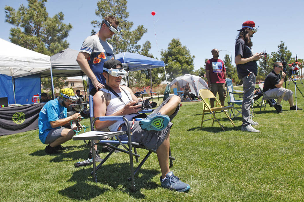 Members of the Las Vegas Drone Club participate in the King of Las Vegas drone tournament on Sunday, May 21, 2017, at Red Ridge Park in Las Vegas. Rachel Aston Las Vegas Review-Journal @rookie__rae