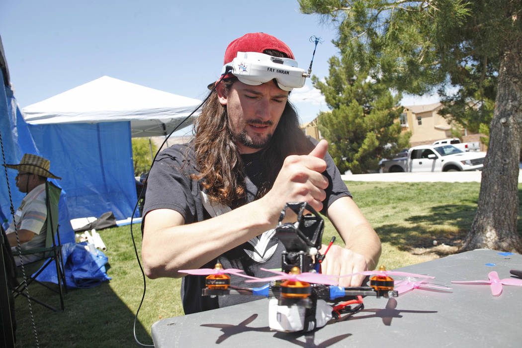 Jonathan Rincon fixes his drone at the King of Las Vegas drone tournament hosted by the Las Vegas Drone Club on Sunday, May 21, 2017, at Red Ridge Park in Las Vegas. Rachel Aston Las Vegas Review- ...