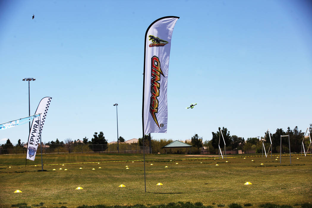 Drones fly the course at the King of Las Vegas drone tournament hosted by the Las Vegas Drone Club on Sunday, May 21, 2017, at Red Ridge Park in Las Vegas. Rachel Aston Las Vegas Review-Journal @r ...