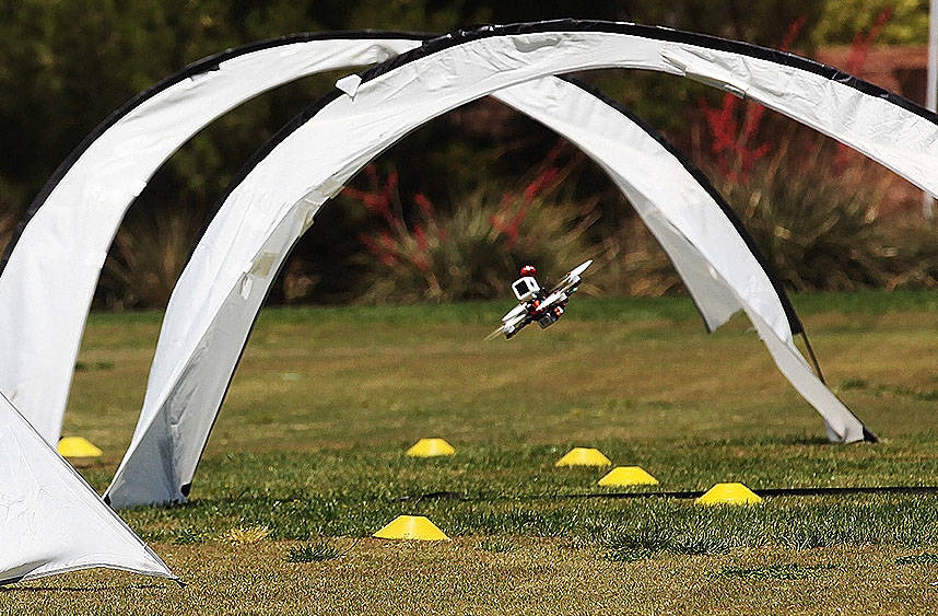 A drone flies the course at the King of Las Vegas drone tournament hosted by the Las Vegas Drone Club on Sunday, May 21, 2017, at Red Ridge Park in Las Vegas. Rachel Aston Las Vegas Review-Journal ...