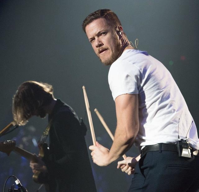 Frontman Dan Reynolds and his Las Vegas band Imagine Dragons at T-Mobile Arena on Wednesday, Oct. 26, 2016, in Las Vegas. (Tom Donoghue)