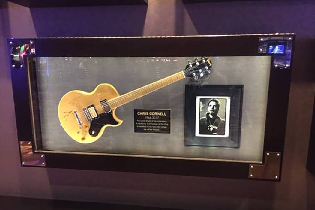 The Gibson guitar played by late Soungarden front man Chris Cornell is shown at Hard Rock Hotel on Thursday, May 19, 2017. (Hard Rock Hotel)