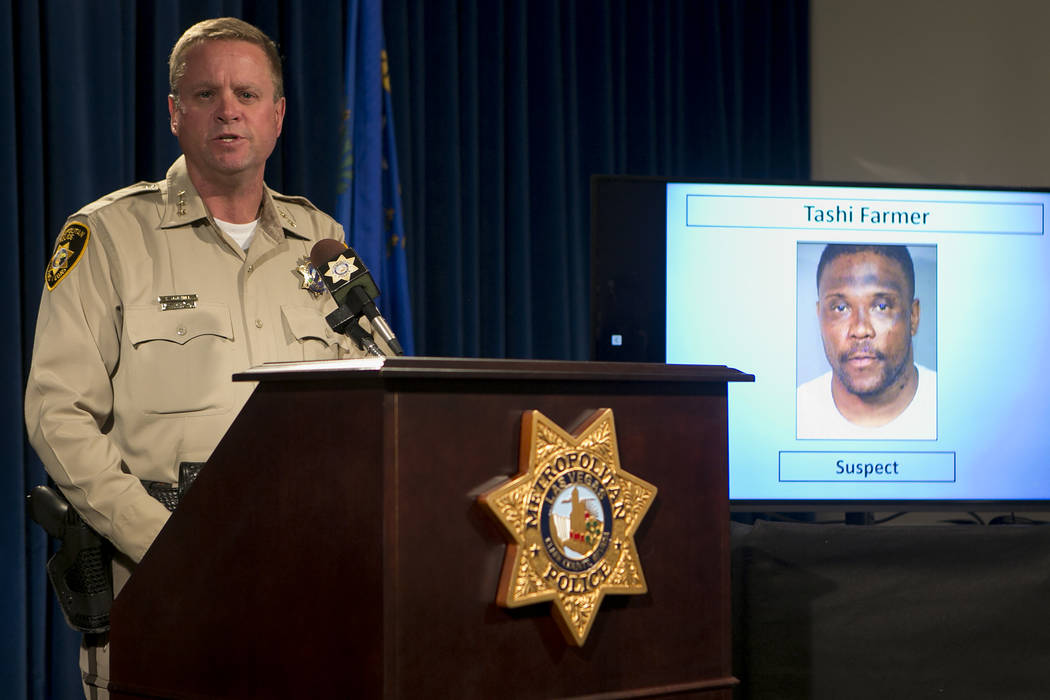 Metropolitan Police Department Undersheriff Kevin McMahill speaks on an incident involving Tashi Brown during a press conference at Las Vegas Metropolitan Police Department Wednesday, May 17, 2017 ...