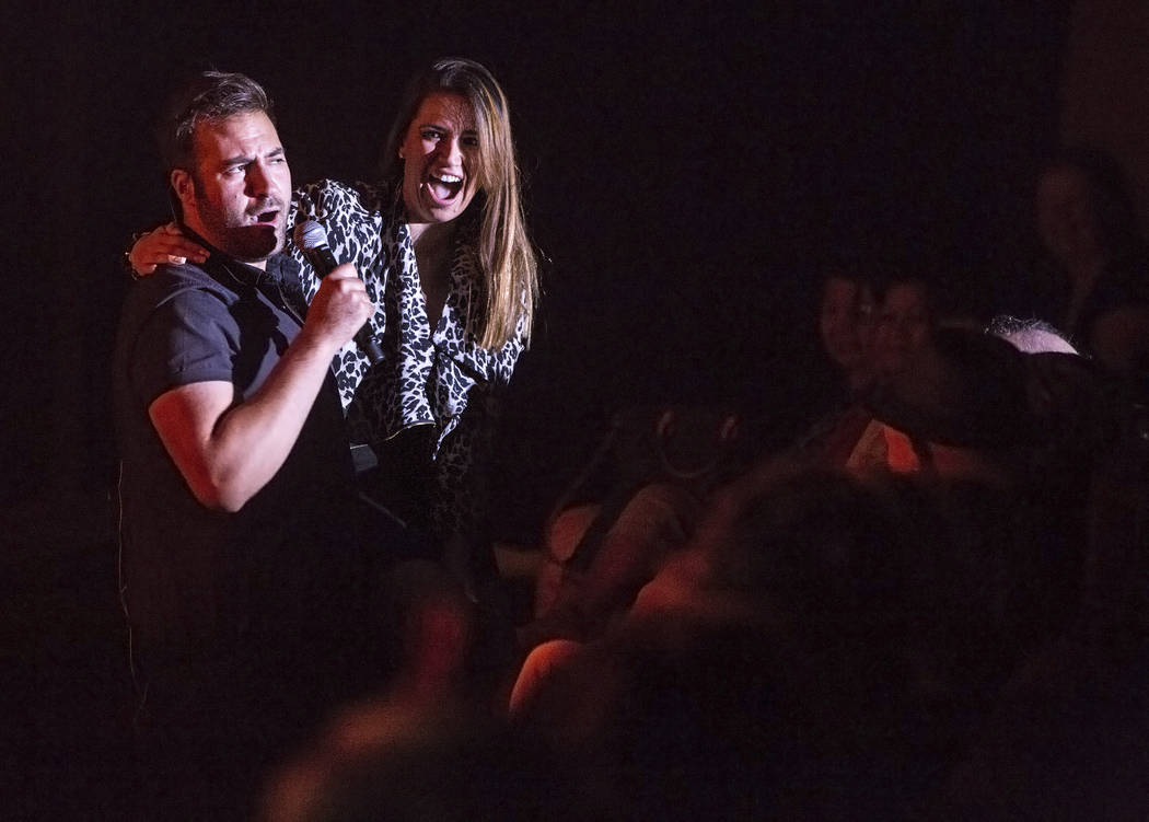 A member of Frankie Moreno's band, left, interacts with the crowd at The Showroom at the Golden Nugget on Saturday, May 20, 2017, in Las Vegas. Benjamin Hager Las Vegas Review-Journal @benjaminhphoto