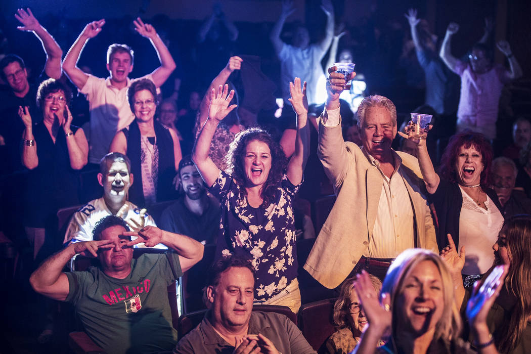 The crowd cheers for singer and piano showman Frankie Moreno during his performance at The Showroom at the Golden Nugget on Saturday, May 20, 2017, in Las Vegas. Benjamin Hager Las Vegas Review-Jo ...