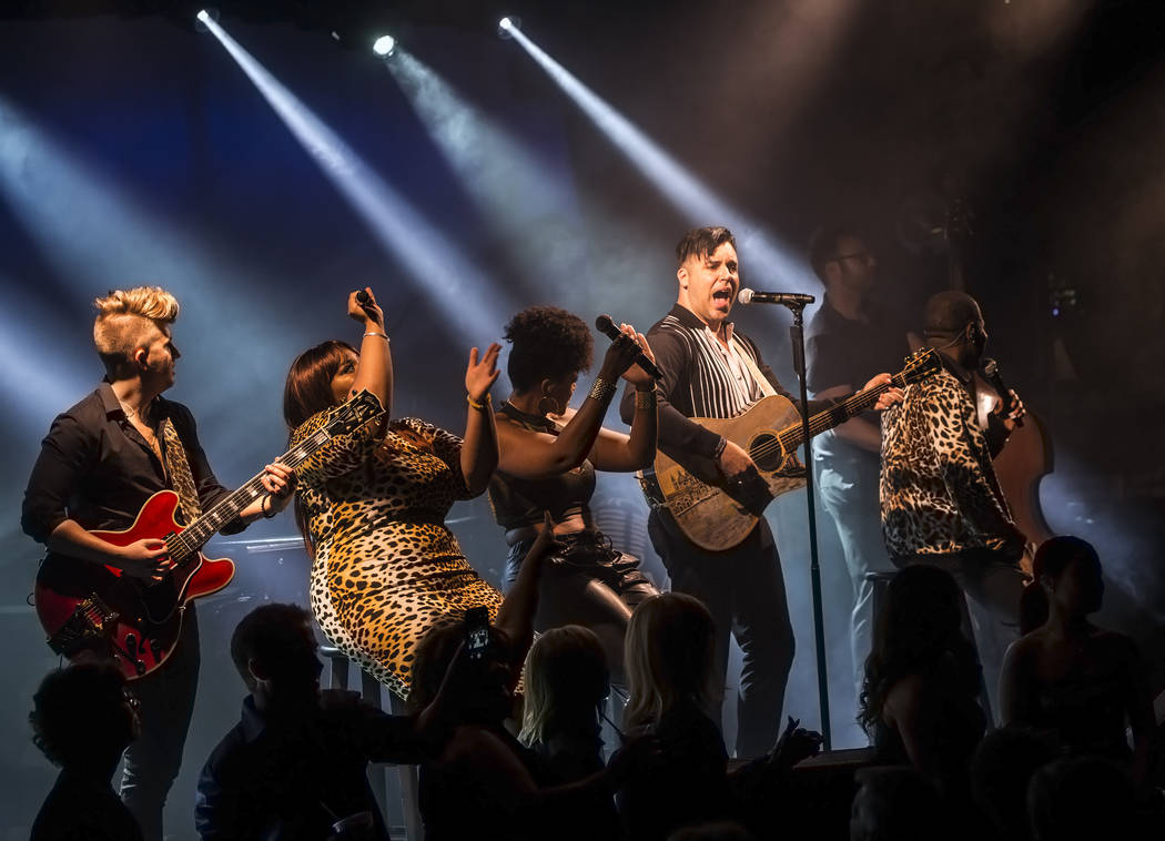Singer and piano showman Frankie Moreno, second from right, wows the crowd at The Showroom at the Golden Nugget on Saturday, May 20, 2017, in Las Vegas. Benjamin Hager Las Vegas Review-Journal @be ...