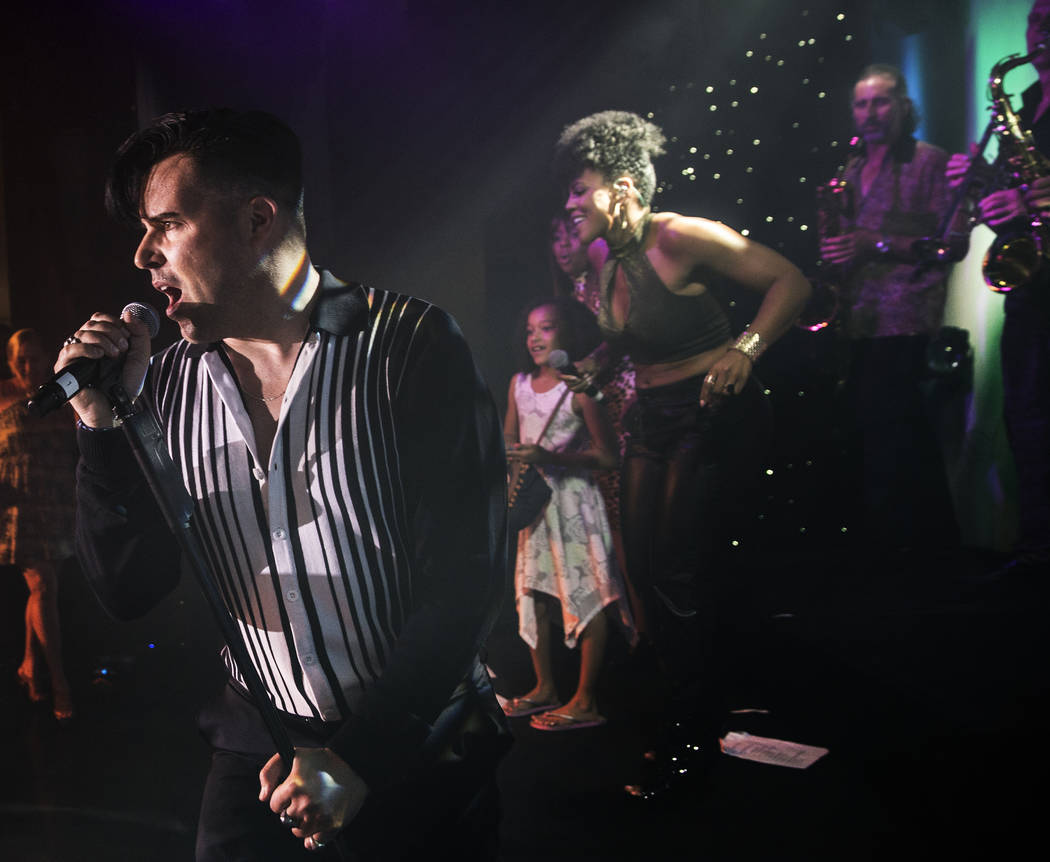 Singer and piano showman Frankie Moreno, left, wows the crowd at The Showroom at the Golden Nugget on Saturday, May 20, 2017, in Las Vegas. Benjamin Hager Las Vegas Review-Journal @benjaminhphoto