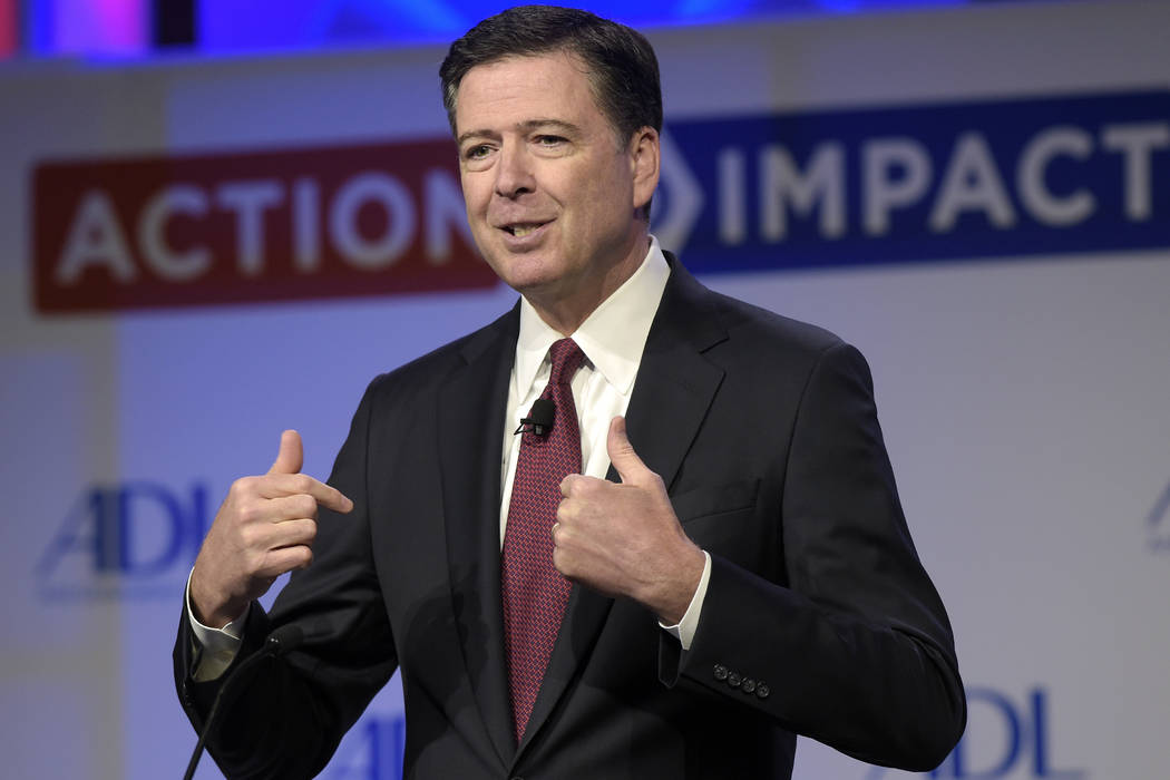 In this May 8, 2017, file photo, then-FBI Director James Comey speaks to the Anti-Defamation League National Leadership Summit in Washington. The White House is disputing a report that President D ...