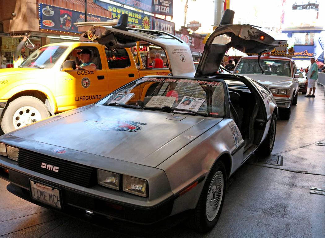 """The Delorean from the """"Back to the Future"""" franchise on display at CarStars at the Fremont Street Experience, Friday, May 19, 2017. Gabriella Benavidez Las Vegas Review-Journal @ ..."""