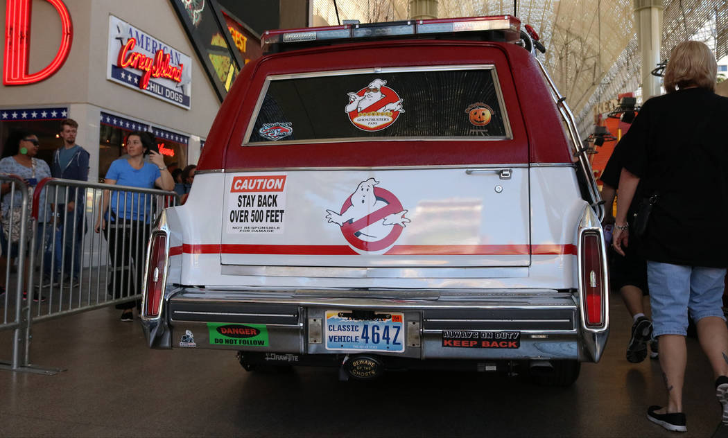 """The car from the """"Ghostbusters"""" franchise on display at CarStars at the Fremont Street Experience, Friday, May 19, 2017. Gabriella Benavidez Las Vegas Review-Journal @latina_ish"""