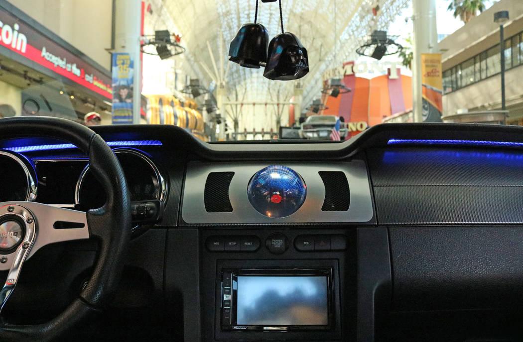 "Inside the car from the 2009 reboot of ""Knight Rider"" at CarStars at the Fremont Street Experience, Friday, May 19, 2017. Gabriella Benavidez Las Vegas Review-Journal @latina_ish"