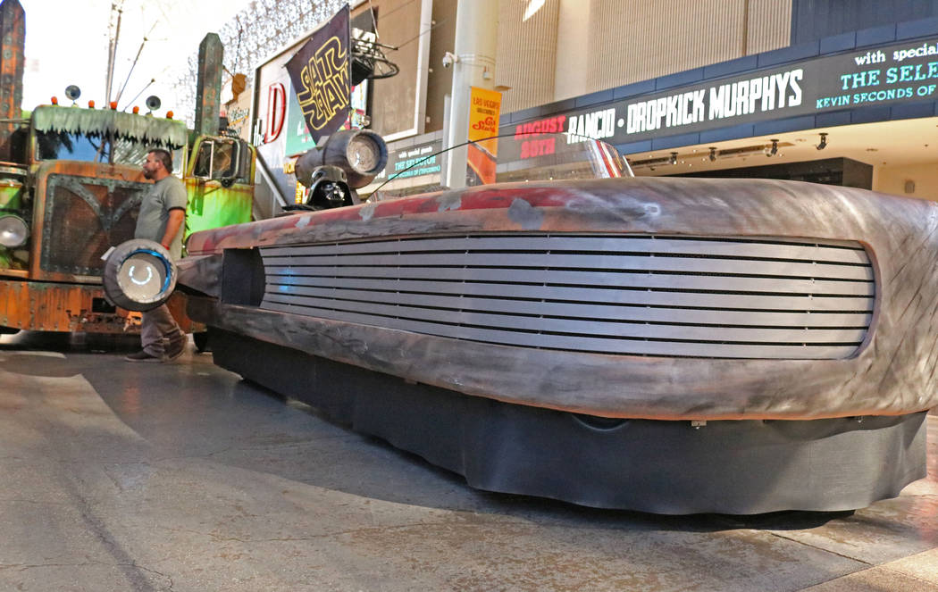 "A car modified to look like a cruiser from ""Star Wars"" at CarStars at the Fremont Street Experience, Friday, May 19, 2017. Gabriella Benavidez Las Vegas Review-Journal @latina_ish"