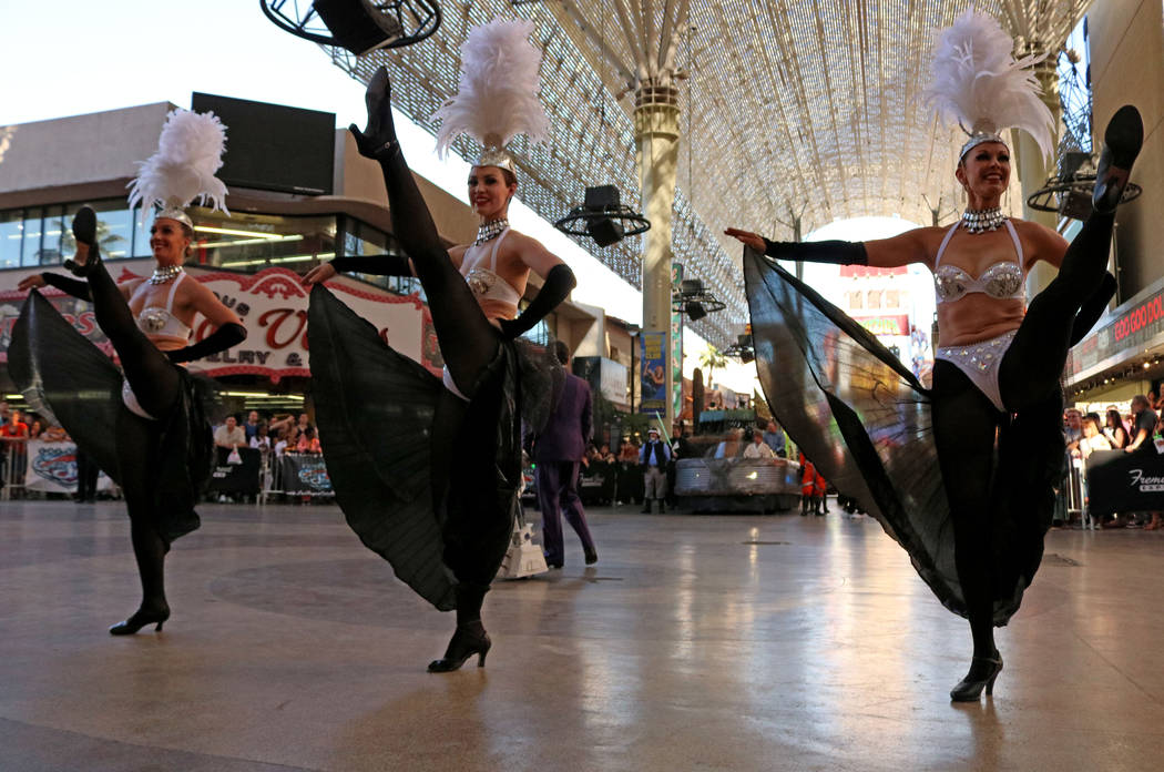 Dancers, from left, Michelle Gaftioi, Stevie-Lea Smith and Silver Corbin, perform at CarStars at the Fremont Street Experience, Friday, May 19, 2017. Gabriella Benavidez Las Vegas Review-Journal @ ...