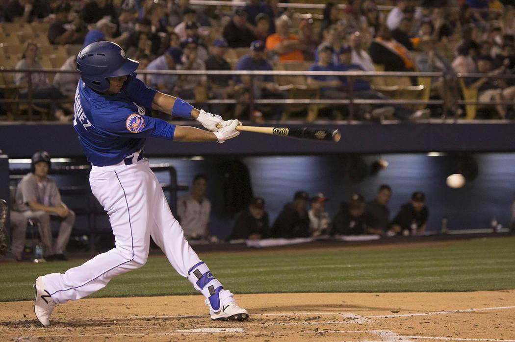 51s Josh Rodriguez (7) hits the ball in third inning against Albuquerque at Cashman Field on Thursday, April 27, 2017, in Las Vegas. Bridget Bennett/Las Vegas Review-Journal @bridgetkbennett