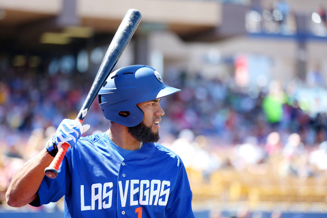Las Vegas 51s shortstop Amed Rosario prepares to bat against Albuquerque Isotopes in the eighth inning at Cashman Field in Las Vegas, Sunday, April 30, 2017. Elizabeth Brumley Las Vegas Review-Jou ...