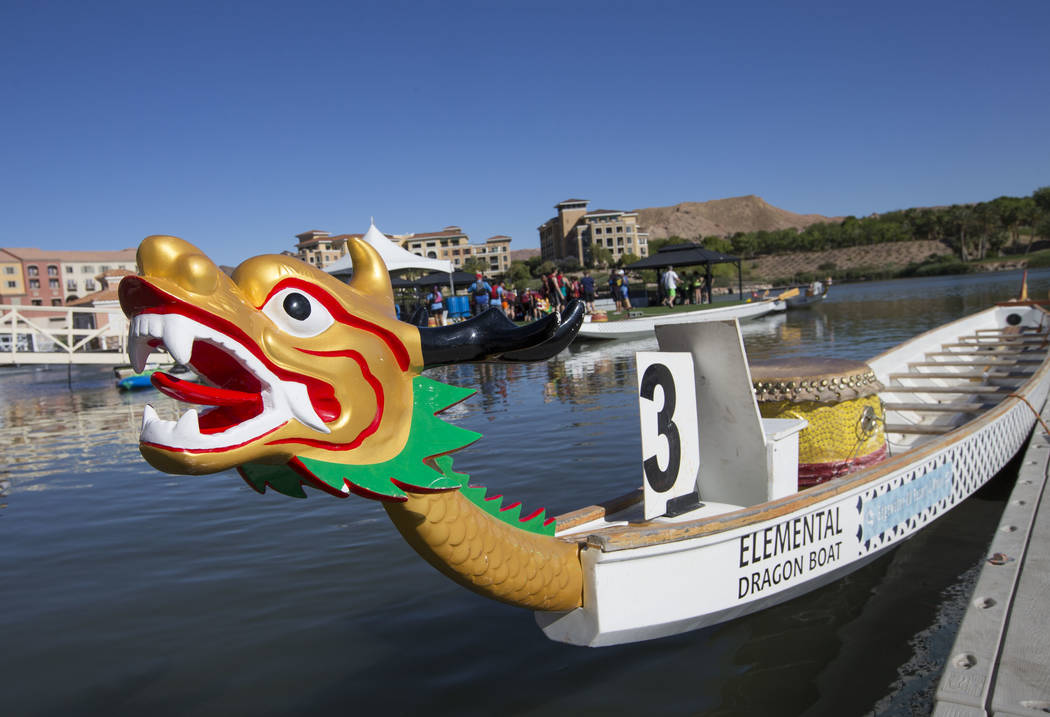 A dragon boat is docked before the start of the Nevada International Dragon Boat Festival at Lake Las Vegas in Henderson on Sunday, May 21, 2017. Richard Brian Las Vegas Review-Journal @vegasphoto ...