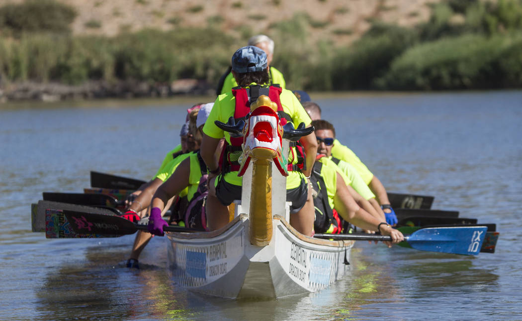Members of the Arizona Dragon Riders prepare to participate in a race during the Nevada International Dragon Boat Festival at Lake Las Vegas in Henderson on Sunday, May 21, 2017. Richard Brian Las ...