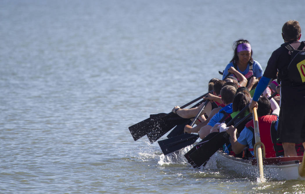 Members of the Fire Dragons prepare to race during the Nevada International Dragon Boat Festival at Lake Las Vegas in Henderson on Sunday, May 21, 2017. Richard Brian Las Vegas Review-Journal @veg ...
