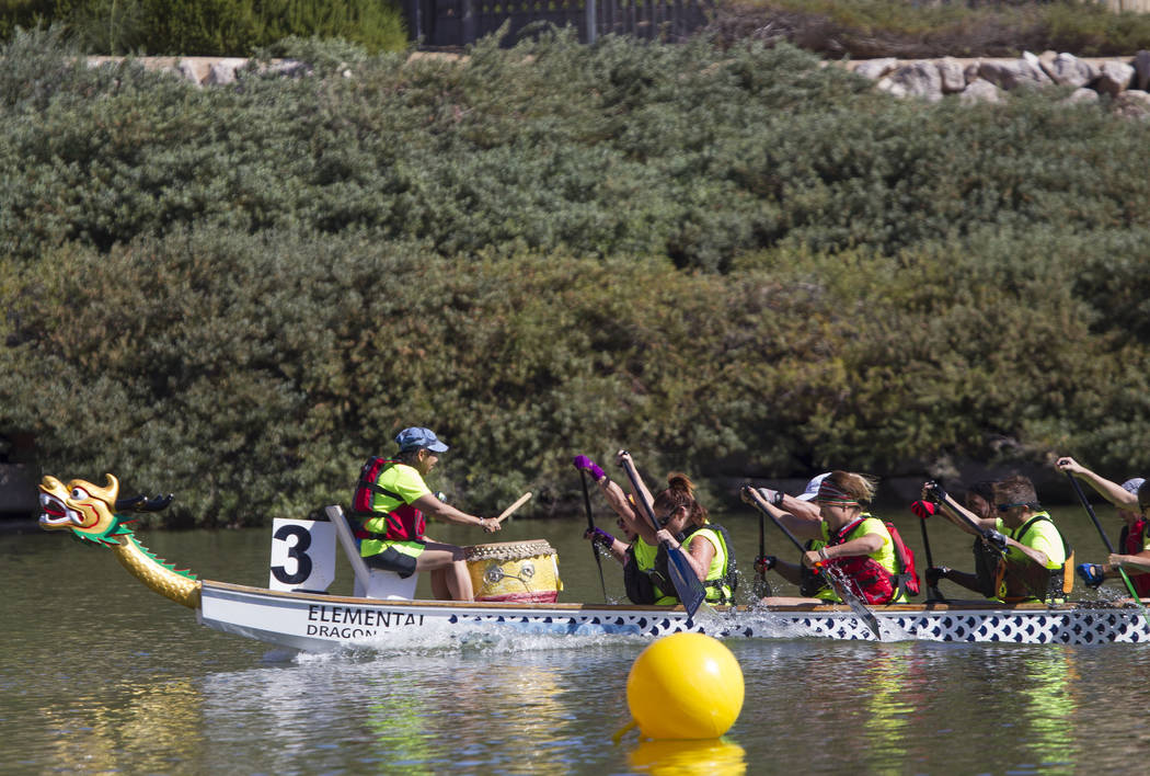Members of the Arizona Dragon Riders race during the Nevada International Dragon Boat Festival at Lake Las Vegas in Henderson on Sunday, May 21, 2017. Richard Brian Las Vegas Review-Journal @vegas ...
