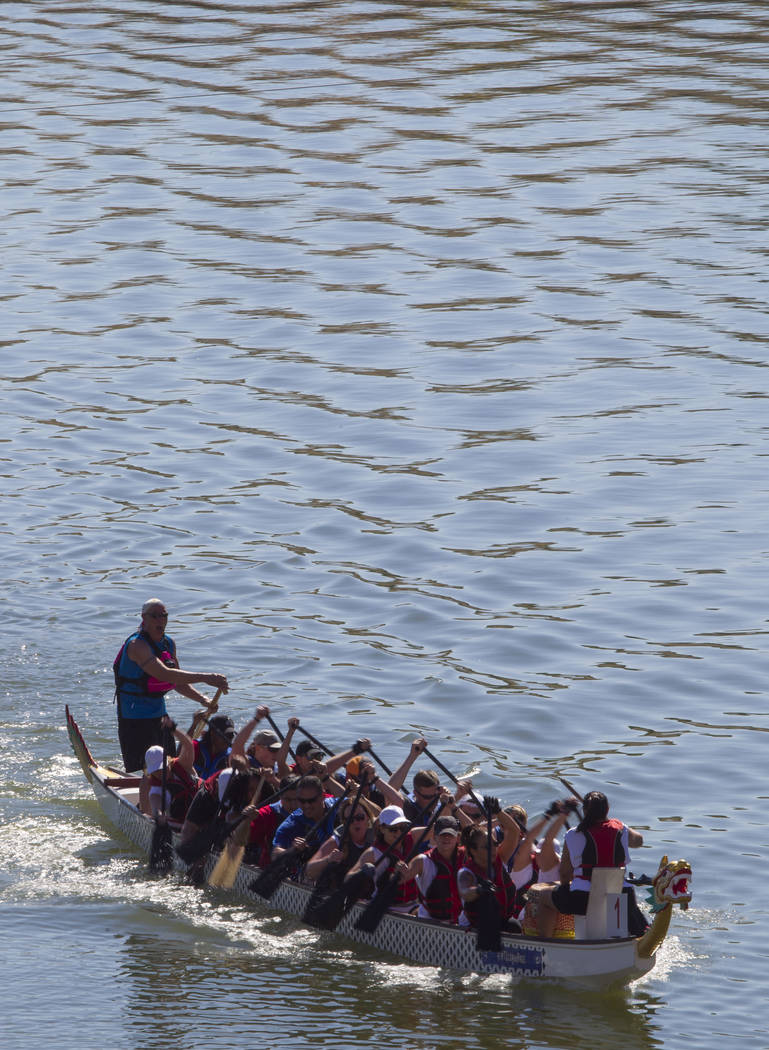 Members of Caesars Entertainment dragon boat race team compete during the Nevada International Dragon Boat Festival at Lake Las Vegas in Henderson on Sunday, May 21, 2017. Richard Brian Las Vegas  ...