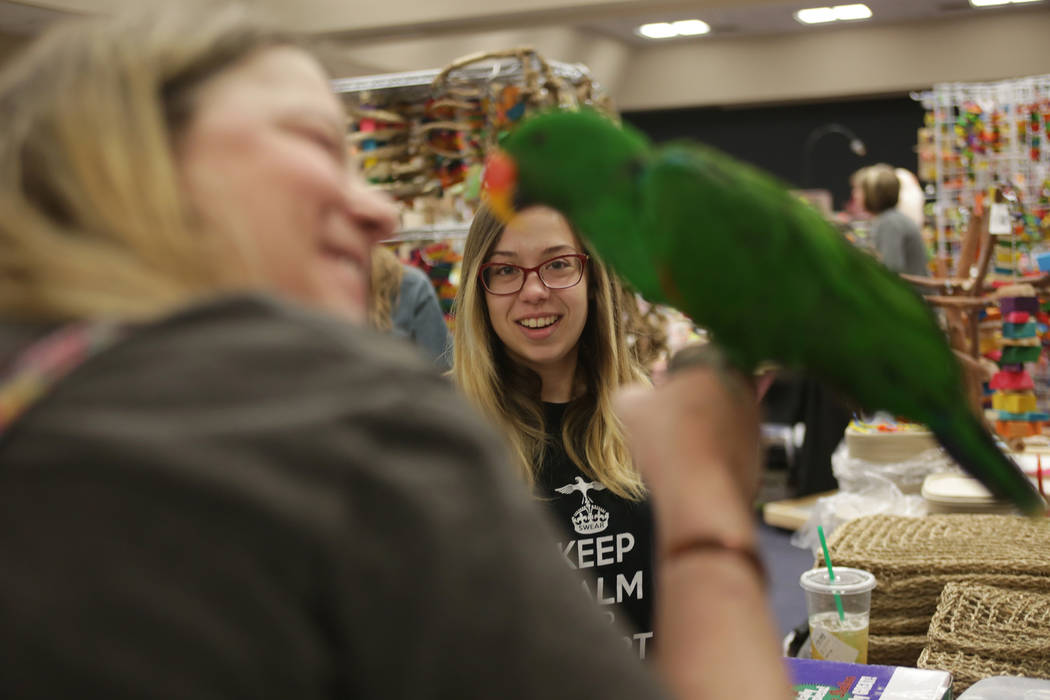 Flora Woratschek holds Kiwi as Kiwi's owner Cynthia Jeckewicz watches on Sunday, May 21, 2017, at the Bird Mart Show hosted by the Las Vegas Avicultural Society at the Henderson Convention Center  ...