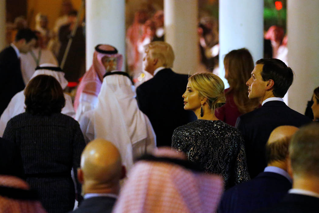Ivanka Trump (2nd R) and her husband, White House senior advisor Jared Kushner (R), look on as U.S. President Donald Trump (C) arrives at a welcome ceremony at Al Murabba Palace in Riyadh, Saudi A ...