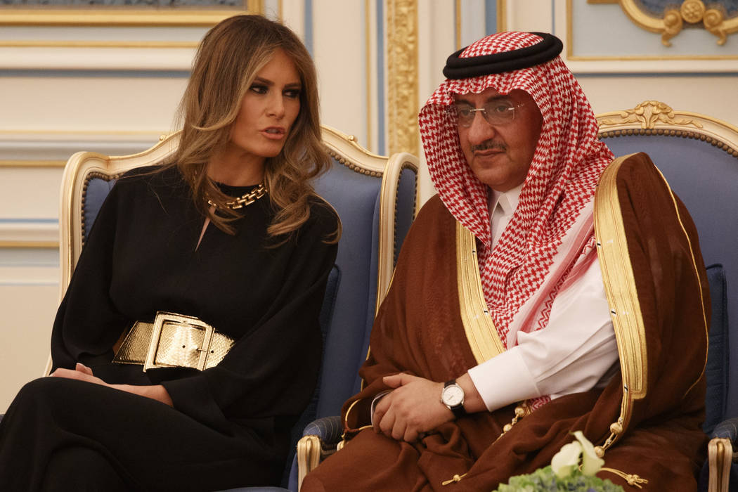 First lady Melania Trump talks with Saudi Crown Prince Muhammad bin Nayef during a ceremony to present The Collar of Abdulaziz Al Saud Medal to President Donald Trump, at the Royal Court Palace, S ...
