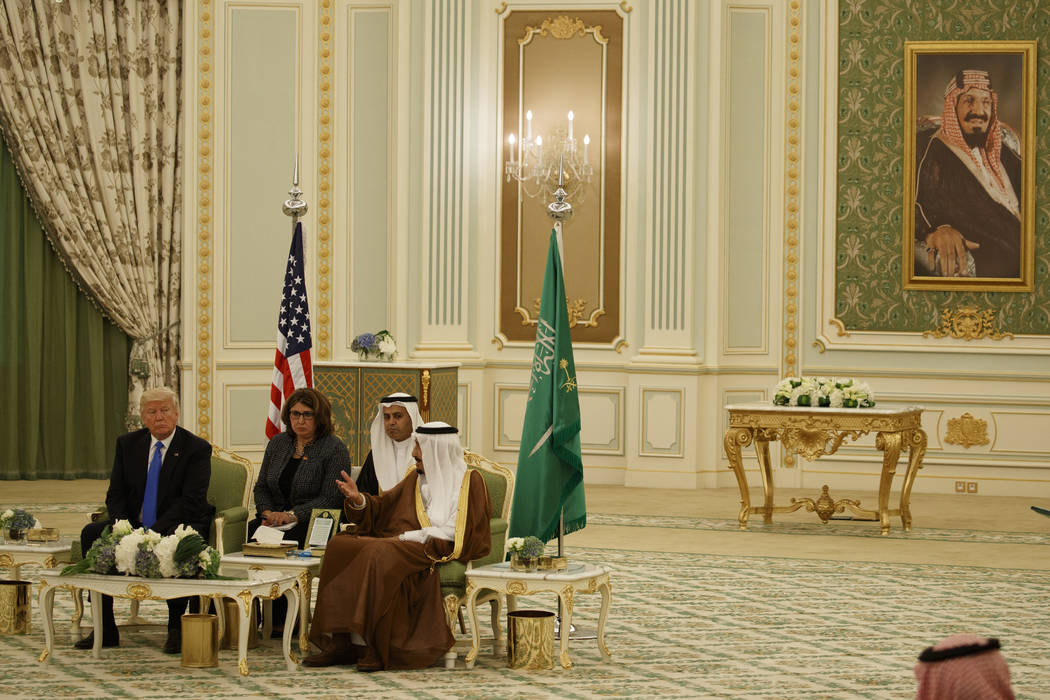 President Donald Trump sits with Saudi King Salam before a signing ceremony at the Royal Court Palace, Saturday, May 20, 2017, in Riyadh. (Evan Vucci/AP)