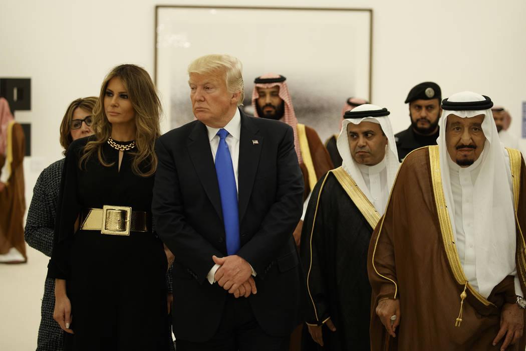 President Donald Trump and first lady Melania Trump visit an art exhibit with Saudi King Salam at the Royal Court Palace, Saturday, May 20, 2017, in Riyadh. (Evan Vucci/AP)