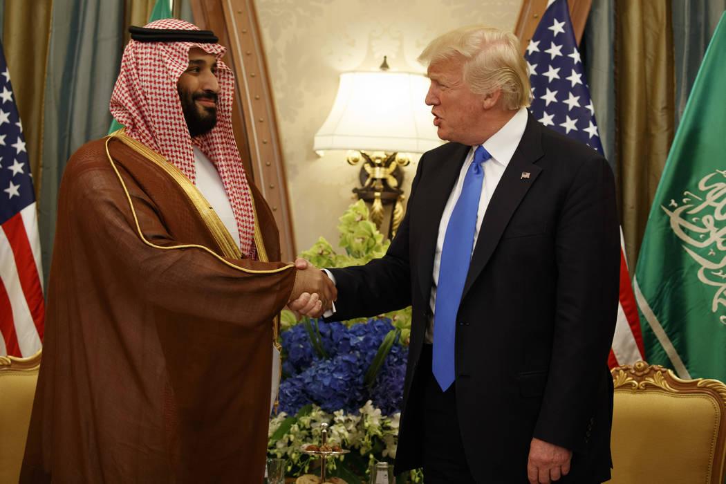 President Donald Trump shakes hands with Saudi Deputy Crown Prince and Defense Minister Mohammed bin Salman during a bilateral meeting, Saturday, May 20, 2017, in Riyadh. (Evan Vucci/AP)