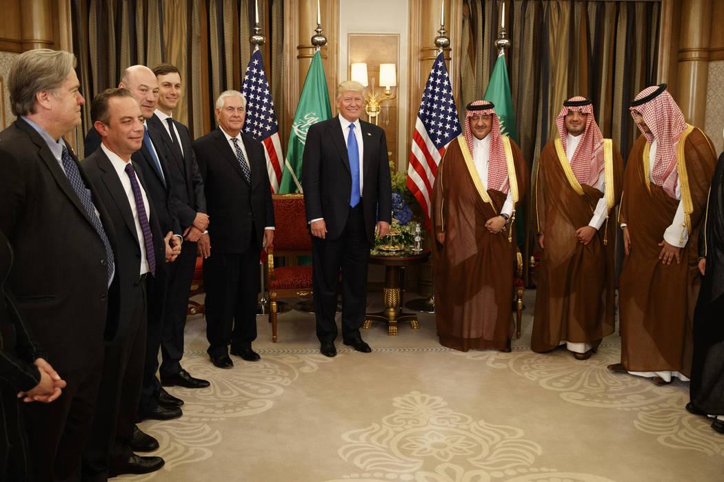 President Donald Trump holds a bilateral meeting with Saudi Crown Prince Muhammad bin Nayef, Saturday, May 20, 2017, in Riyadh. (Evan Vucci/AP)