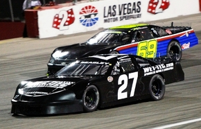 "Cimarron-Memorial High product Jay Beasley (27), shown in a NASCAR Super Late Model race this season at Las Vegas Motor Speedway's Bullring, was inspired as a child by the movie ""Days of Thunder."""