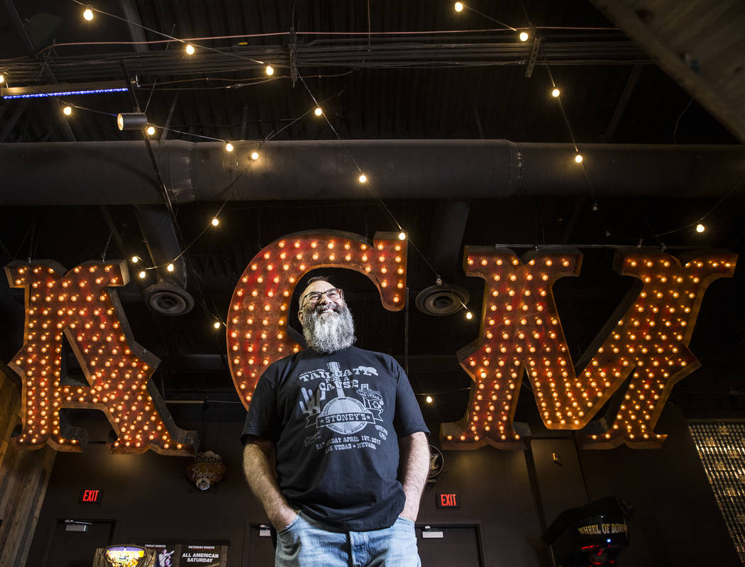 Stoney's Rockin' Country founder Chris Lowden is poised to celebrate the10th anniversary of the popular Las Vegas country music venue. Photo taken on Friday, May 19, 2017, at Stoney's Rockin' Coun ...
