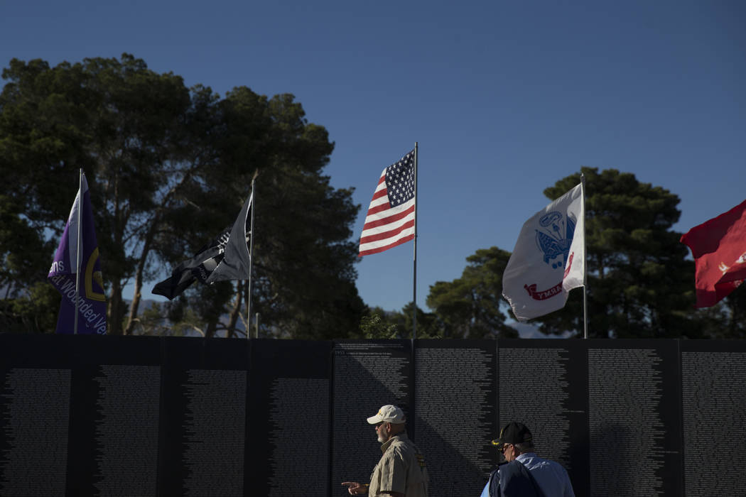 A replica of Vietnam Veterans Memorial Wall before the opening ceremony hosted by the American Veterans Traveling Tribute at Craig Ranch Park on Friday, May 19, 2017 in North Las Vegas. Erik Verdu ...