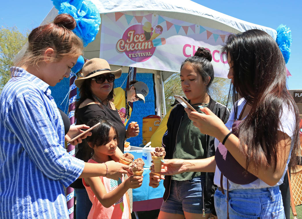 The Torno family take a photo of their ice cream during the Ice Cream Festival at the Springs Preserve, Saturday, May 20, 2017. Gabriella Benavidez Las Vegas Review-Journal @latina_ish