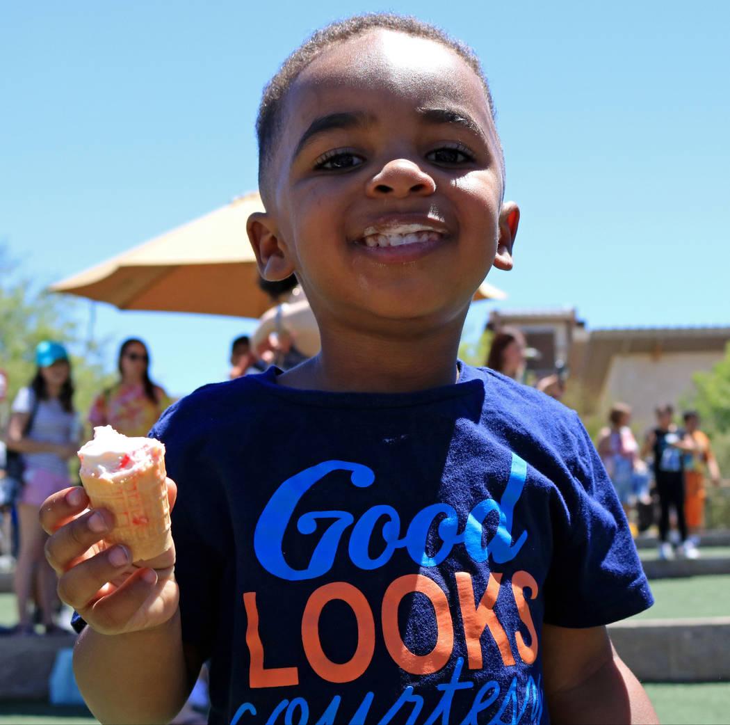 Jeremiah Nickson, 3, savors his ice cream cone during the Ice Cream Festival at the Springs Preserve, Saturday, May 20, 2017. Gabriella Benavidez Las Vegas Review-Journal @latina_ish