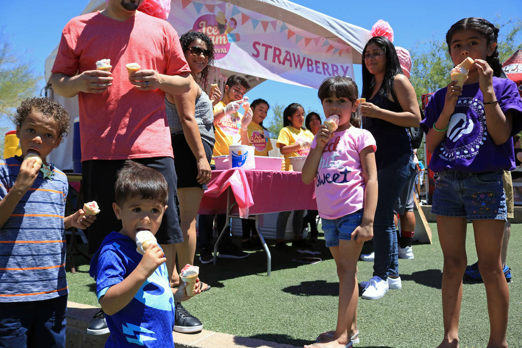 From left, Adrian Adame, 6, J.T. Olivas, 3, Alexa Olivas, 9 and Sarina Loera, 7, savor their ice cream cones during the Ice Cream Festival at the Springs Preserve, Saturday, May 20, 2017. Gabriell ...