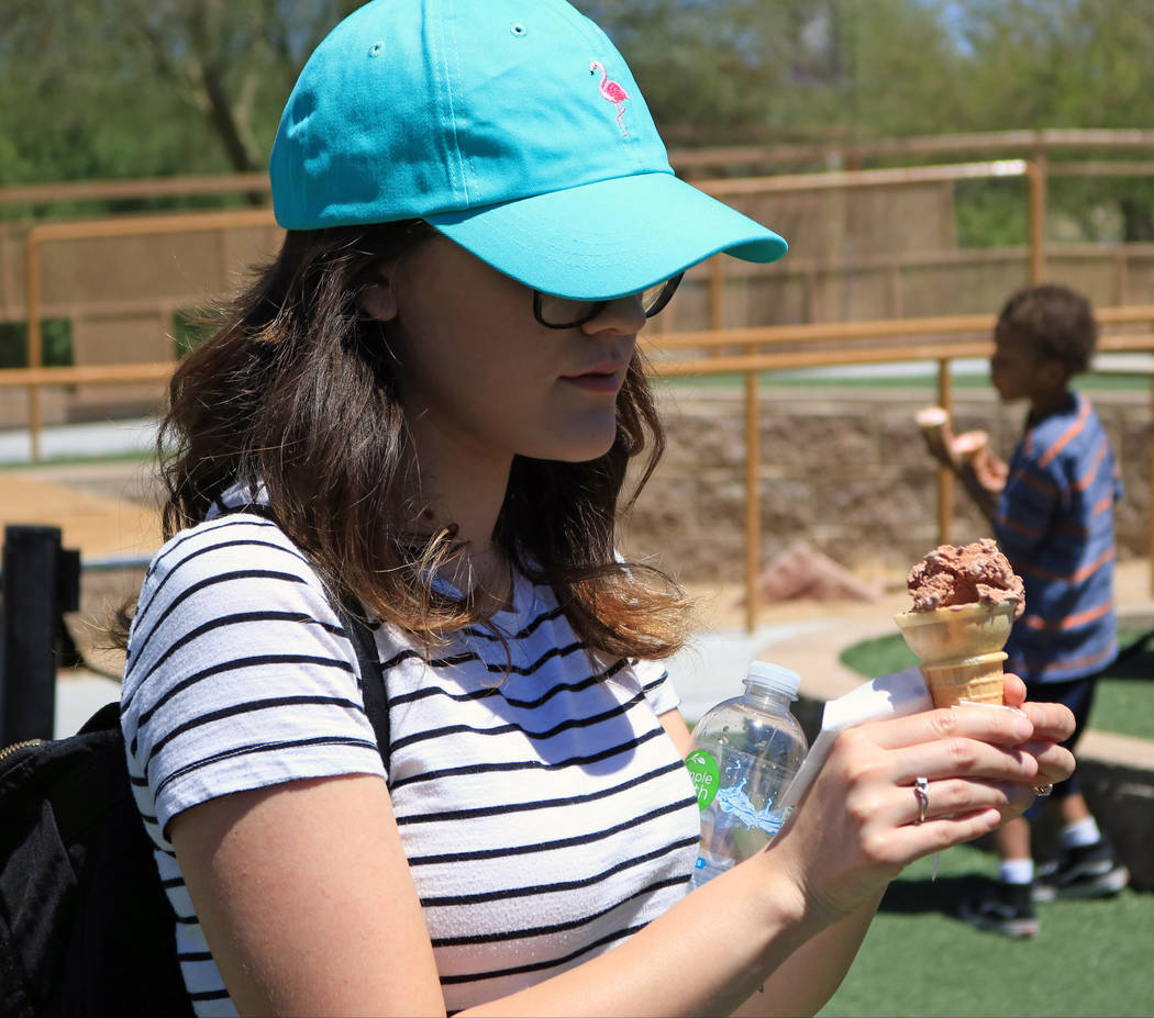 Jenae Cuellar gets ready to enjoy a chocolate ice cream cone during the Ice Cream Festival at the Springs Preserve, Saturday, May 20, 2017. Gabriella Benavidez Las Vegas Review-Journal @latina_ish