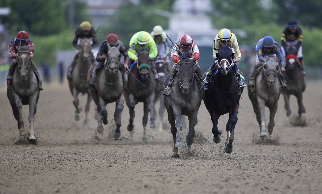 Cloud Computing (2), ridden by Javier Castellano, second from left, wins142nd Preakness Stakes horse race at Pimlico race course as Classic Empire (5) with Julien Leparoux aboard takes second, Sat ...