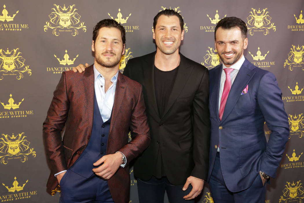 Valentin Chmerkovskiy, Maksim Chmerkovskiy and Tony Dovolani celebrate the grand opening of their dance studio Dance With Me at Tivoli Village on Thursday, March 9, 2017, in Las Vegas. (Edison Gra ...