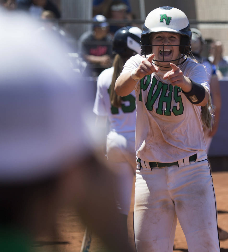 Palo Verde's Ally Snelling (12) reacts after a play against Reed in the Nevada Class 4A state softball final on Saturday, May 20, 2017 in Las Vegas. Palo Verde won 9-3. Erik Verduzco/Las Vegas Rev ...