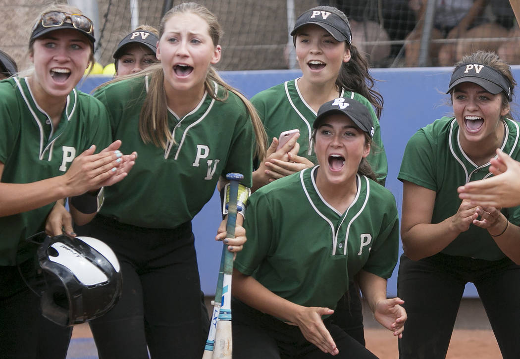 Palo Verde cheers their teammates on after a home run hit during the game against Rancho at Bishop Gorman High School in part of the Class 4A state softball tournament on Thursday, May 18, 2017 in ...